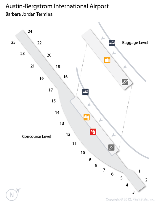 AUS AustinBergstrom International Airport Terminal Map