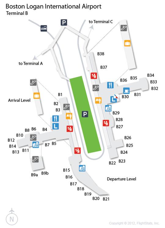 BOS Logan International Airport Terminal Map