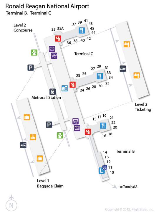 DCA Ronald Reagan National Airport Terminal Map
