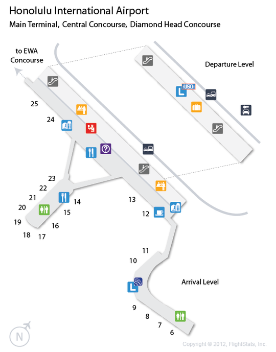 HNL Honolulu International Airport Terminal Map
