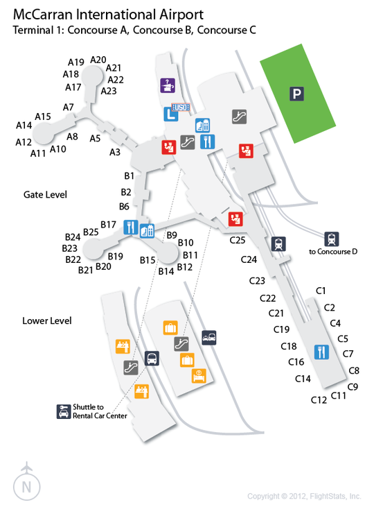 LAS McCarran International Airport Terminal Map