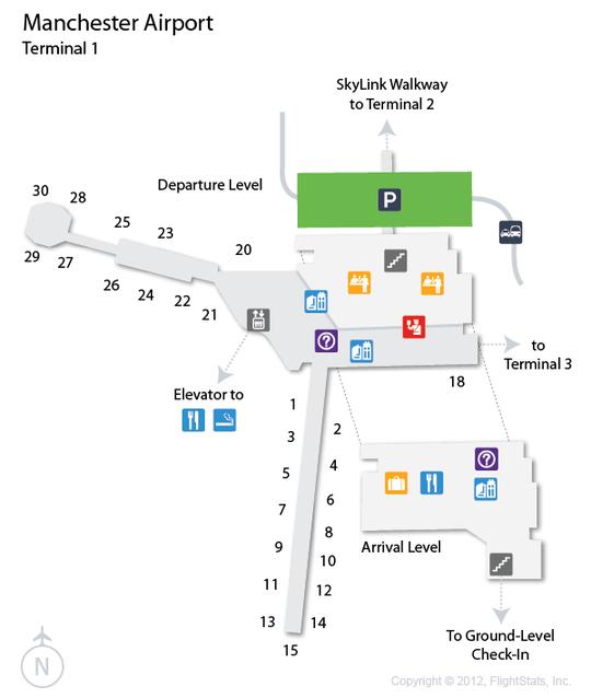 MAN Manchester Airport Terminal Map