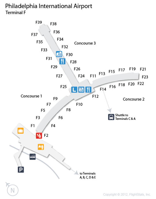 PHL Philadelphia International Airport Terminal Map